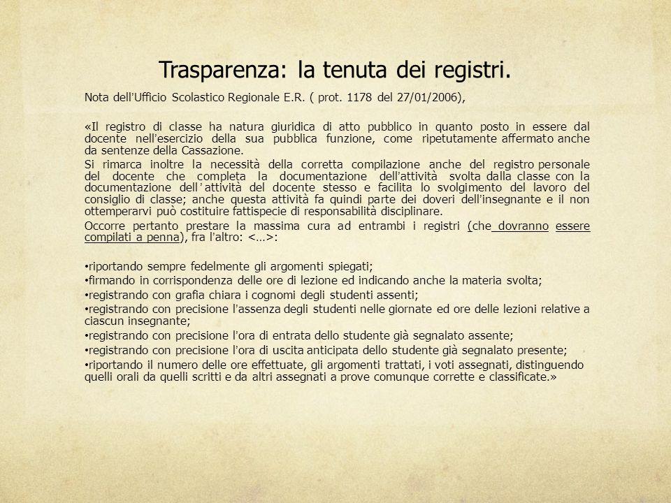 Trasparenza: la tenuta dei registri. Nota dell'Ufficio Scolastico Regionale E.R. ( prot. 1178 del 27/01/2006), «Il registro di classe ha natura giurid