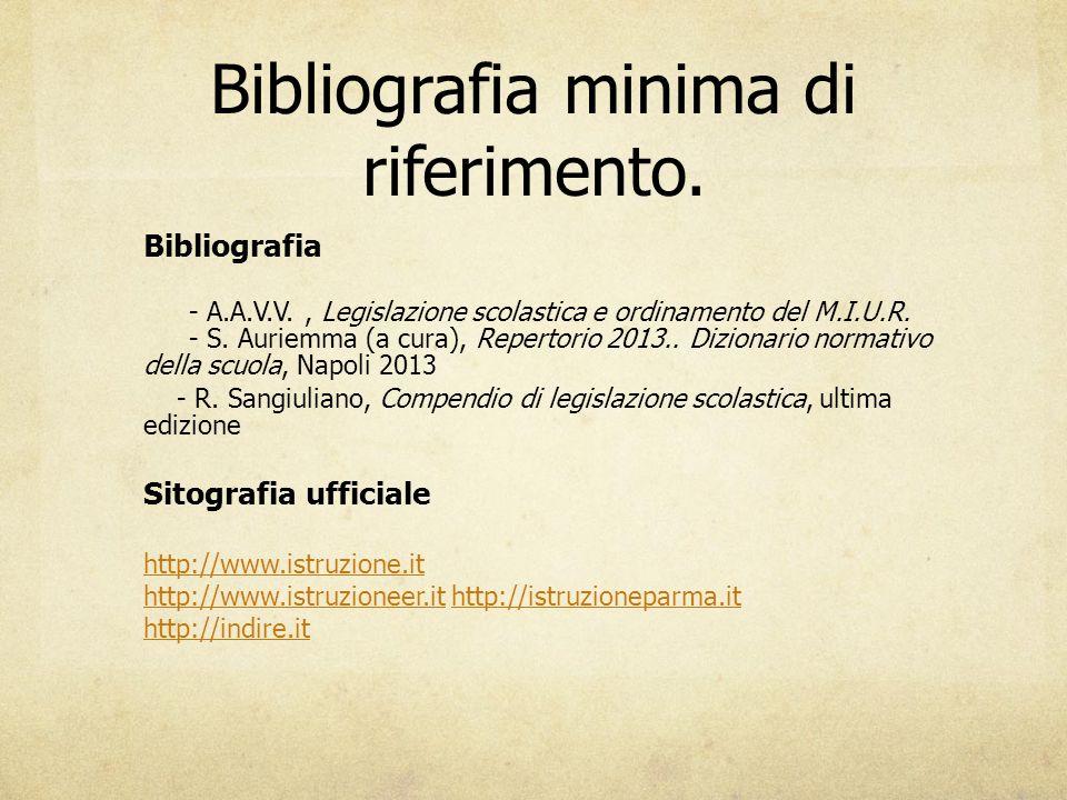 Bibliografia minima di riferimento. Bibliografia - A.A.V.V., Legislazione scolastica e ordinamento del M.I.U.R. - S. Auriemma (a cura), Repertorio 201
