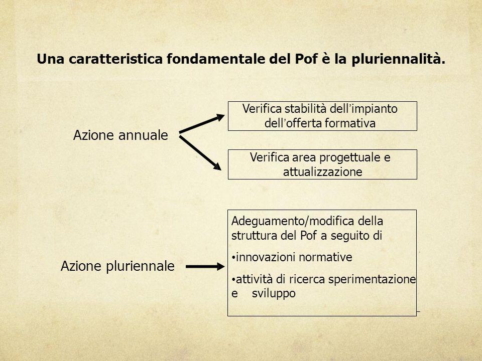 Una caratteristica fondamentale del Pof è la pluriennalità. Azione annuale Azione pluriennale Verifica stabilità dell'impianto dell'offerta formativa