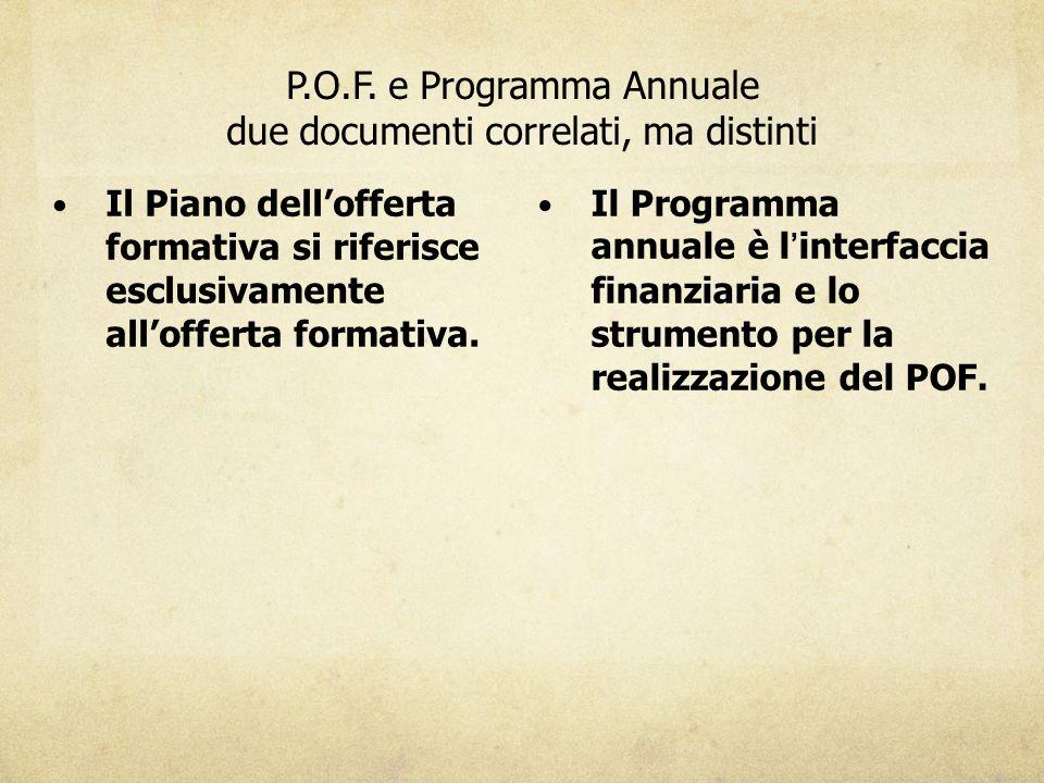 P.O.F. e Programma Annuale due documenti correlati, ma distinti Il Piano dell'offerta formativa si riferisce esclusivamente all'offerta formativa. Il