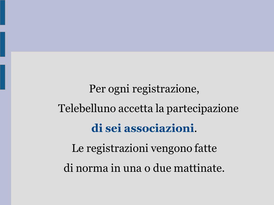 Per ogni registrazione, Telebelluno accetta la partecipazione di sei associazioni. Le registrazioni vengono fatte di norma in una o due mattinate.
