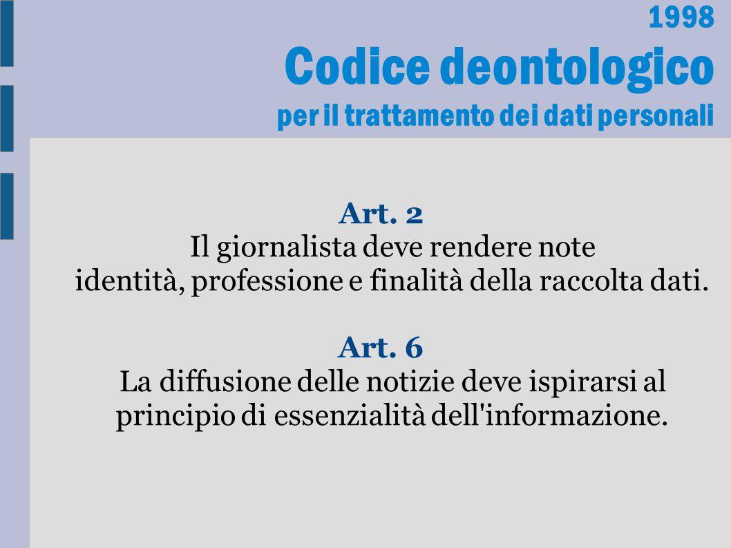 1998 Codice deontologico per il trattamento dei dati personali Art. 2 Il giornalista deve rendere note identità, professione e finalità della raccolta