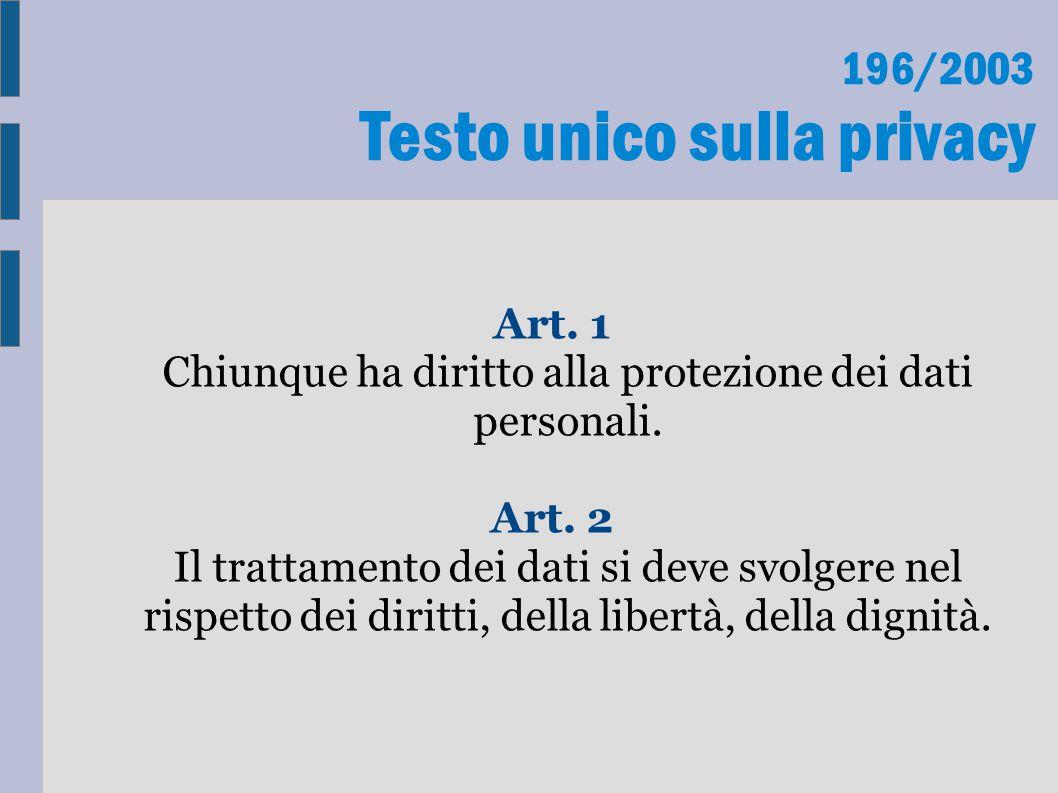 196/2003 Testo unico sulla privacy Art. 1 Chiunque ha diritto alla protezione dei dati personali. Art. 2 Il trattamento dei dati si deve svolgere nel