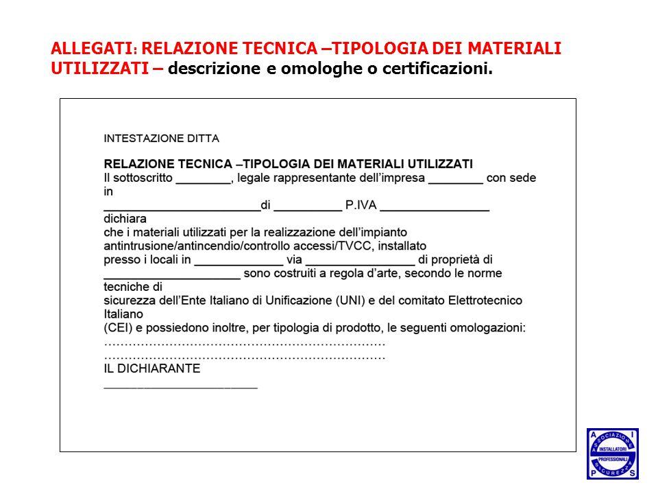 ALLEGATI : RELAZIONE TECNICA –TIPOLOGIA DEI MATERIALI UTILIZZATI – descrizione e omologhe o certificazioni.