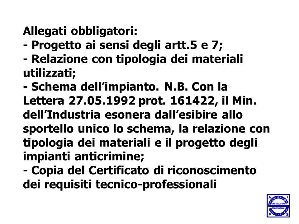 Allegati obbligatori: - Progetto ai sensi degli artt.5 e 7; - Relazione con tipologia dei materiali utilizzati; - Schema dell'impianto.