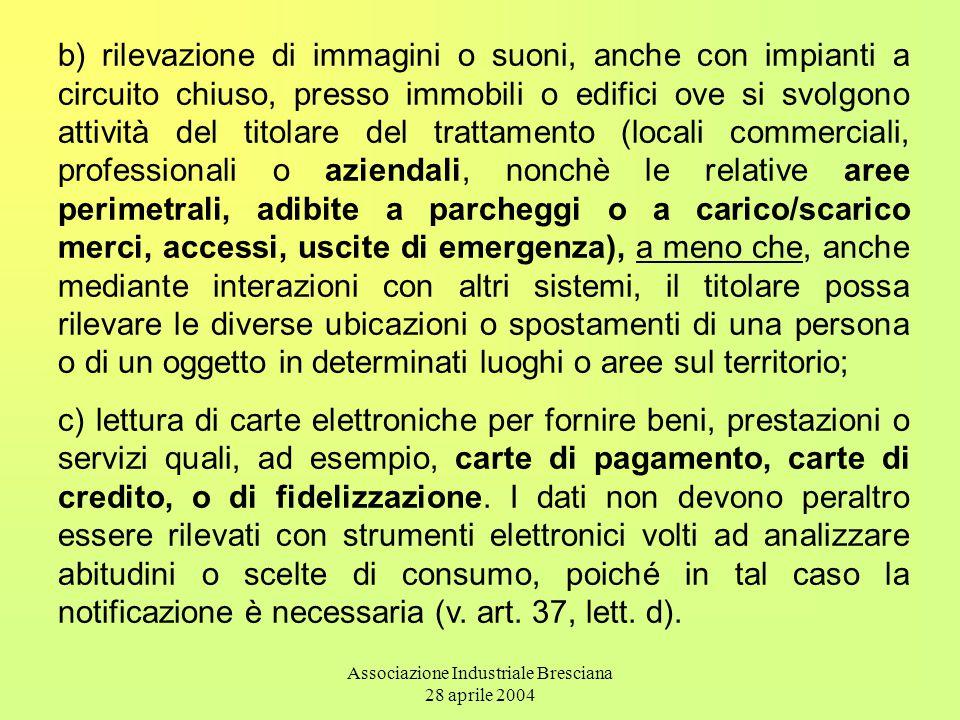 Associazione Industriale Bresciana 28 aprile 2004 b) rilevazione di immagini o suoni, anche con impianti a circuito chiuso, presso immobili o edifici