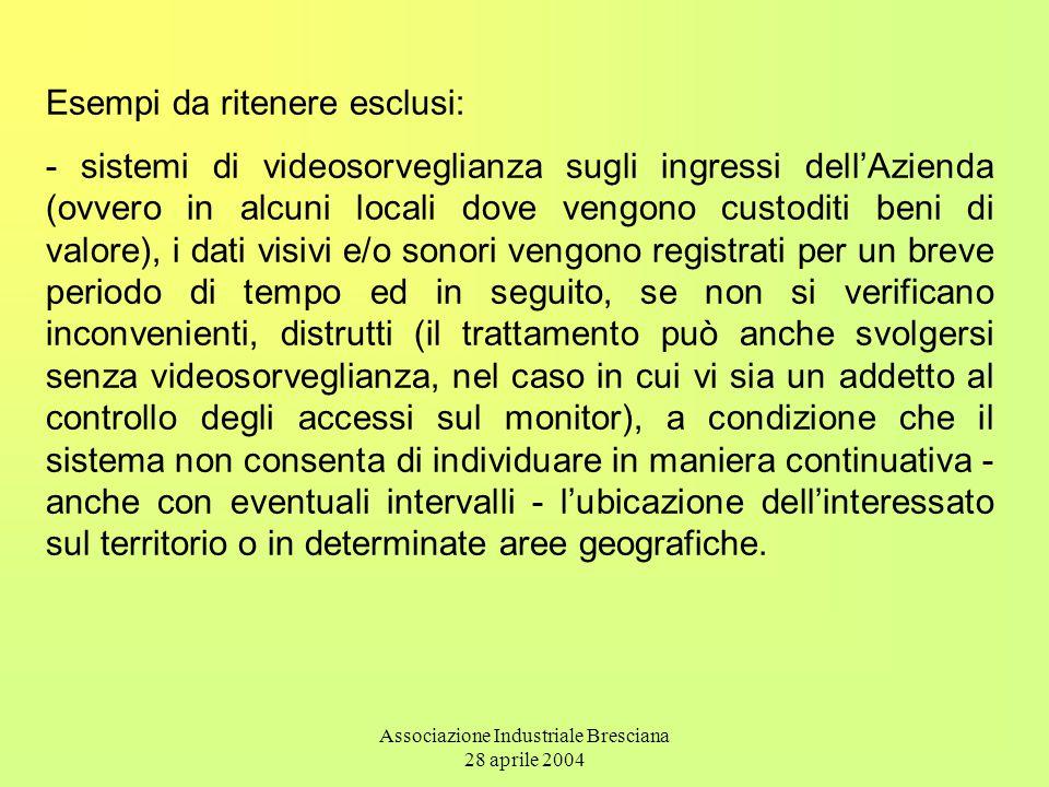 Associazione Industriale Bresciana 28 aprile 2004 Esempi da ritenere esclusi: - sistemi di videosorveglianza sugli ingressi dell'Azienda (ovvero in al