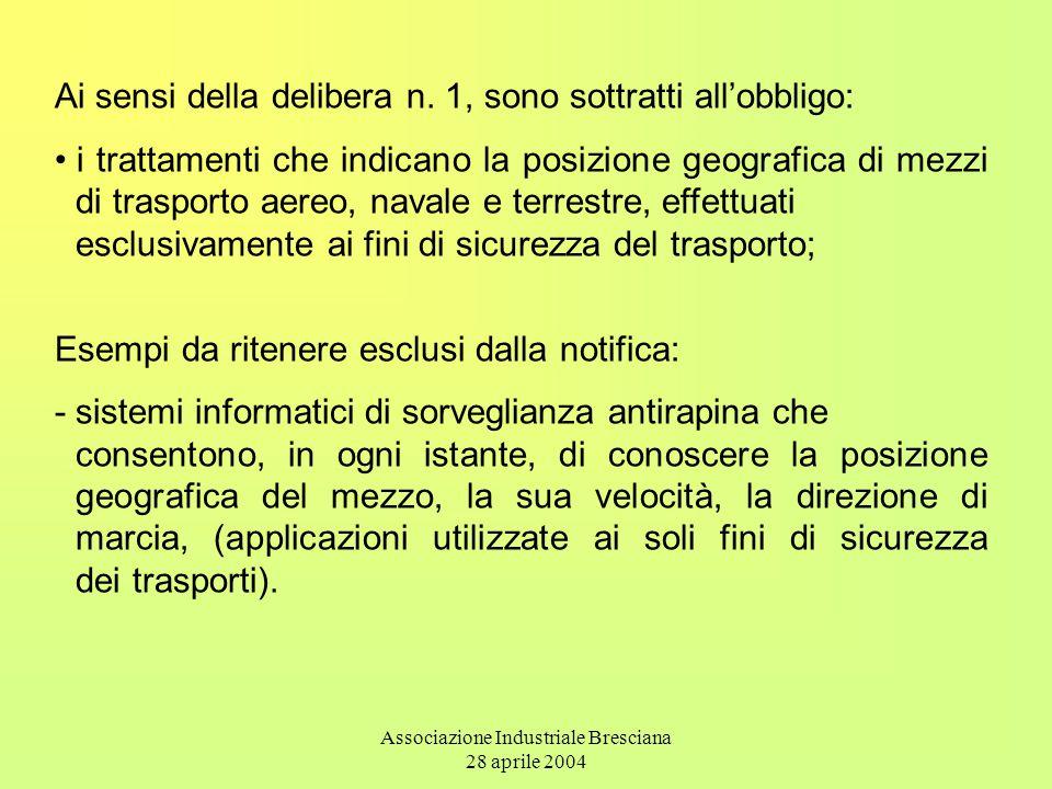 Associazione Industriale Bresciana 28 aprile 2004 Ai sensi della delibera n. 1, sono sottratti all'obbligo: i trattamenti che indicano la posizione ge