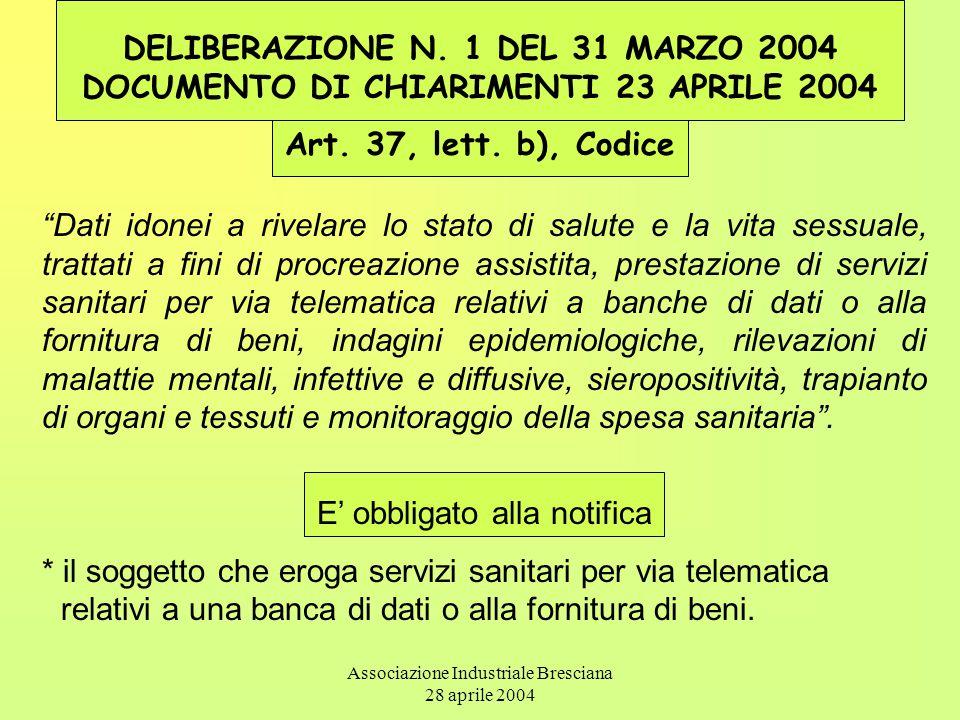 Associazione Industriale Bresciana 28 aprile 2004 DELIBERAZIONE N. 1 DEL 31 MARZO 2004 DOCUMENTO DI CHIARIMENTI 23 APRILE 2004 Art. 37, lett. b), Codi