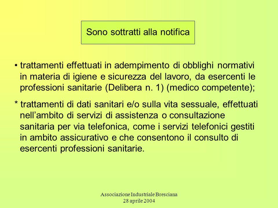 Associazione Industriale Bresciana 28 aprile 2004 Sono sottratti alla notifica trattamenti effettuati in adempimento di obblighi normativi in materia di igiene e sicurezza del lavoro, da esercenti le professioni sanitarie (Delibera n.