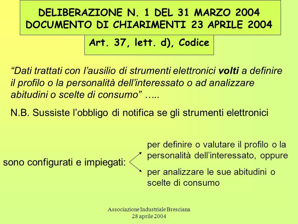 Associazione Industriale Bresciana 28 aprile 2004 DELIBERAZIONE N. 1 DEL 31 MARZO 2004 DOCUMENTO DI CHIARIMENTI 23 APRILE 2004 Art. 37, lett. d), Codi