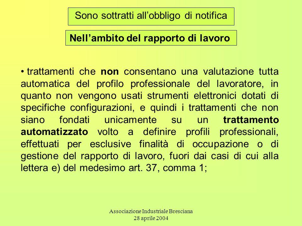 Associazione Industriale Bresciana 28 aprile 2004 Sono sottratti all'obbligo di notifica Nell'ambito del rapporto di lavoro trattamenti che non consen