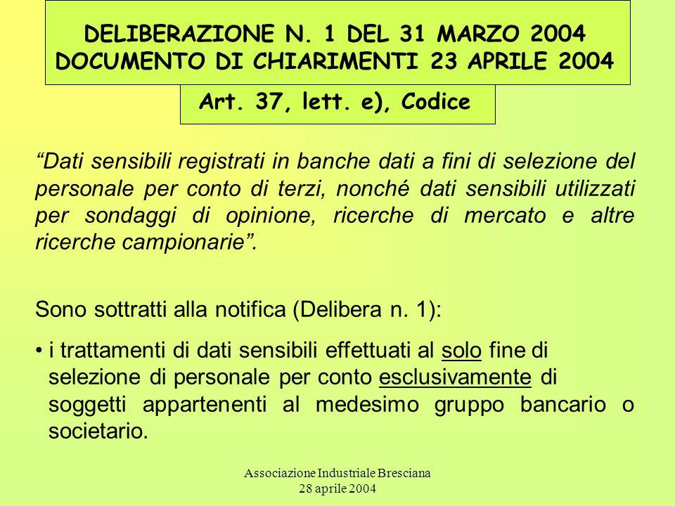 Associazione Industriale Bresciana 28 aprile 2004 DELIBERAZIONE N. 1 DEL 31 MARZO 2004 DOCUMENTO DI CHIARIMENTI 23 APRILE 2004 Art. 37, lett. e), Codi