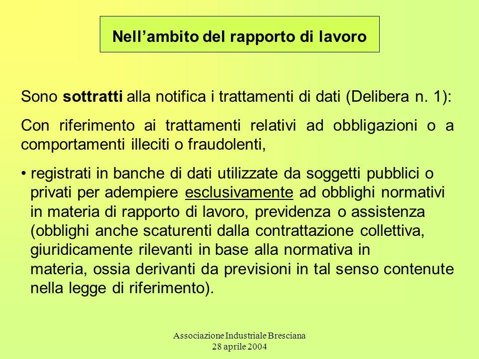 Associazione Industriale Bresciana 28 aprile 2004 Sono sottratti alla notifica i trattamenti di dati (Delibera n.
