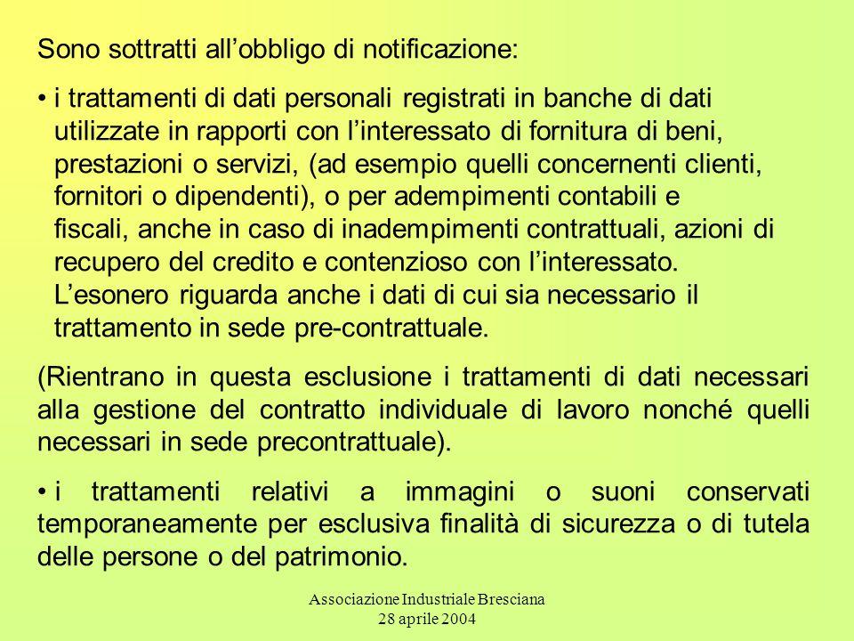 Associazione Industriale Bresciana 28 aprile 2004 Sono sottratti all'obbligo di notificazione: i trattamenti di dati personali registrati in banche di