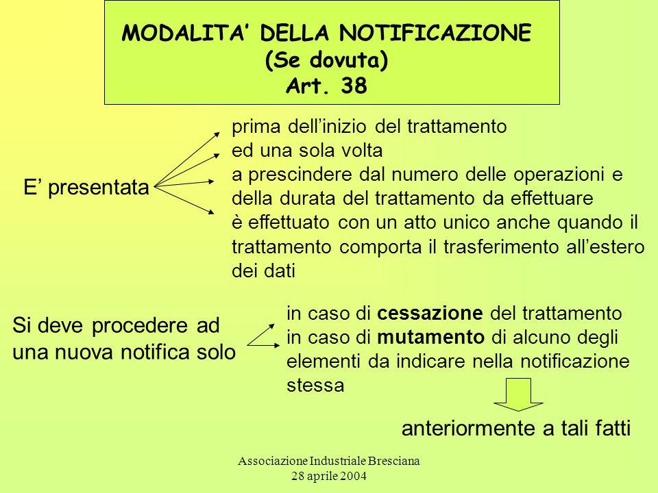 Associazione Industriale Bresciana 28 aprile 2004 MODALITA' DELLA NOTIFICAZIONE (Se dovuta) Art. 38 E' presentata prima dell'inizio del trattamento ed