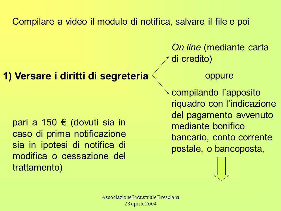 Associazione Industriale Bresciana 28 aprile 2004 Compilare a video il modulo di notifica, salvare il file e poi pari a 150 € (dovuti sia in caso di p