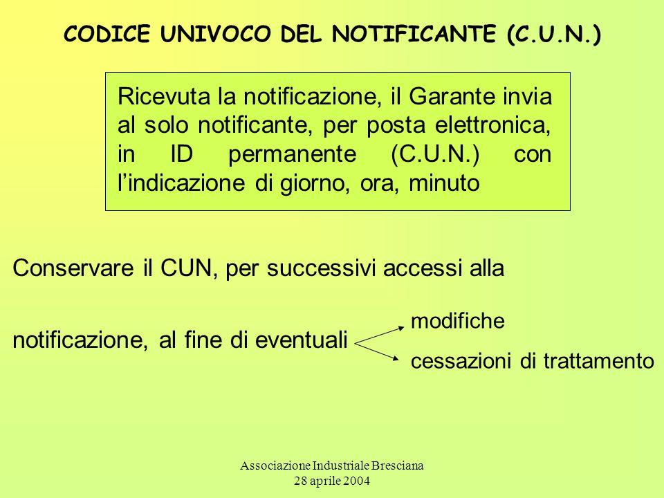 Associazione Industriale Bresciana 28 aprile 2004 CODICE UNIVOCO DEL NOTIFICANTE (C.U.N.) Ricevuta la notificazione, il Garante invia al solo notifica