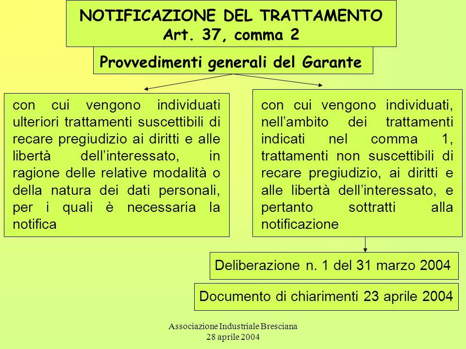 Associazione Industriale Bresciana 28 aprile 2004 NOTIFICAZIONE DEL TRATTAMENTO Art. 37, comma 2 Provvedimenti generali del Garante con cui vengono in