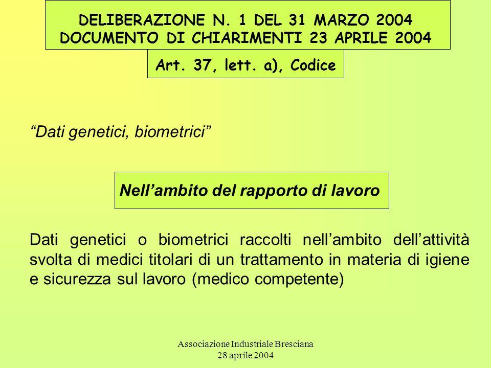 Associazione Industriale Bresciana 28 aprile 2004 DELIBERAZIONE N. 1 DEL 31 MARZO 2004 DOCUMENTO DI CHIARIMENTI 23 APRILE 2004 Art. 37, lett. a), Codi