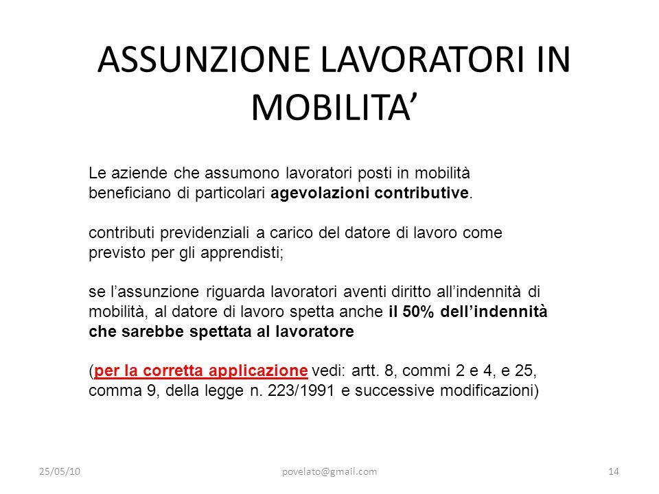 ASSUNZIONE LAVORATORI IN MOBILITA' 25/05/10povelato@gmail.com14 Le aziende che assumono lavoratori posti in mobilità beneficiano di particolari agevol