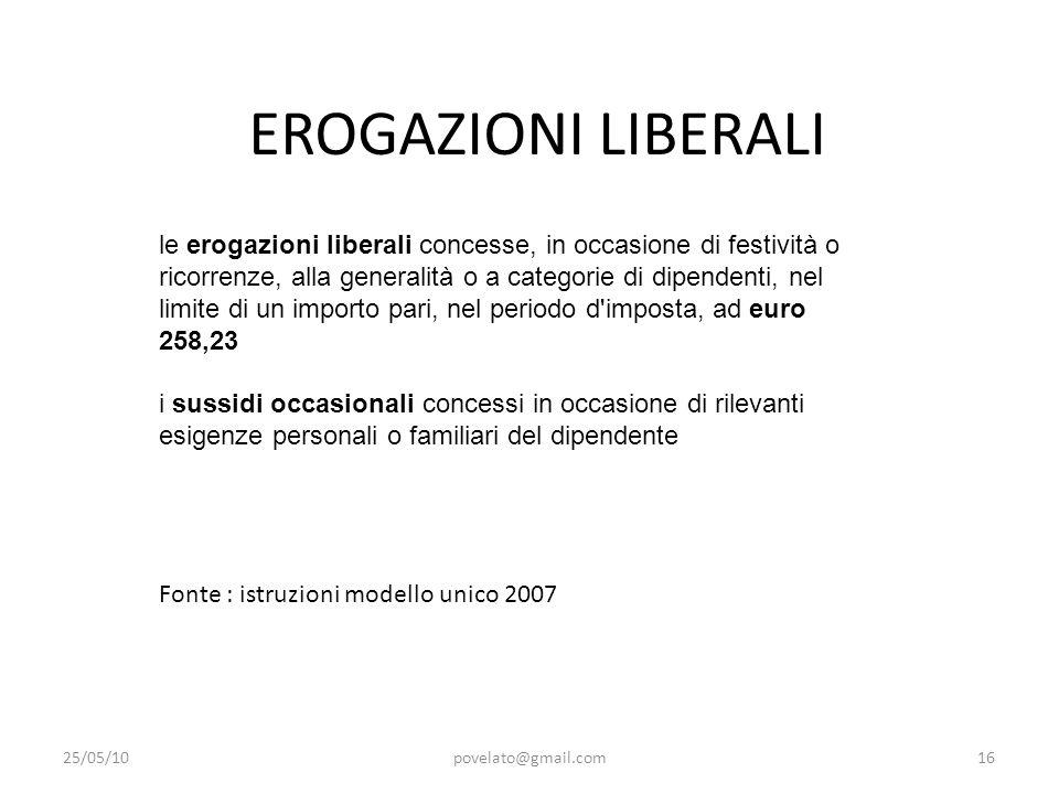 EROGAZIONI LIBERALI 25/05/10povelato@gmail.com16 le erogazioni liberali concesse, in occasione di festività o ricorrenze, alla generalità o a categori