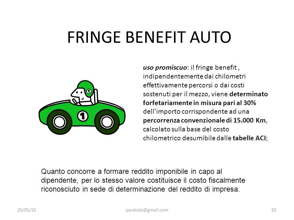 FRINGE BENEFIT AUTO 25/05/10povelato@gmail.com20 uso promiscuo: il fringe benefit, indipendentemente dai chilometri effettivamente percorsi o dai cost