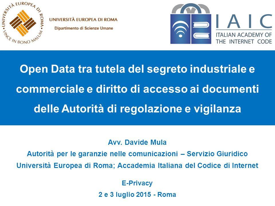 Thank you for the attention Avv. Davide Mula (Davide.Mula@unier.it) 12