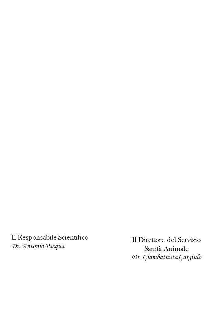 Il Responsabile Scientifico Dr. Antonio Pasqua Il Direttore del Servizio Sanità Animale Dr. Giambattista Gargiulo