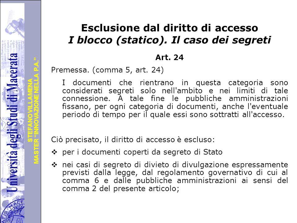 """Università degli Studi di Perugia MASTER """"INNOVAZIONE NELLA P.A."""" STEFANO VILLAMENA Esclusione dal diritto di accesso I blocco (statico). Il caso dei"""