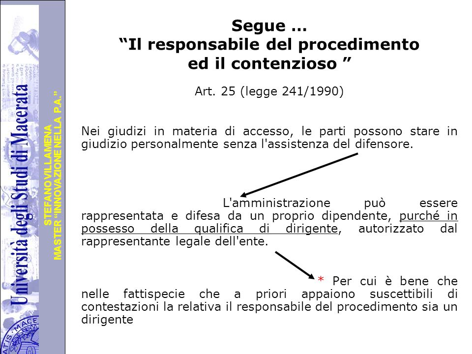 """Università degli Studi di Perugia MASTER """"INNOVAZIONE NELLA P.A."""" STEFANO VILLAMENA Segue … """"Il responsabile del procedimento ed il contenzioso """" Art."""
