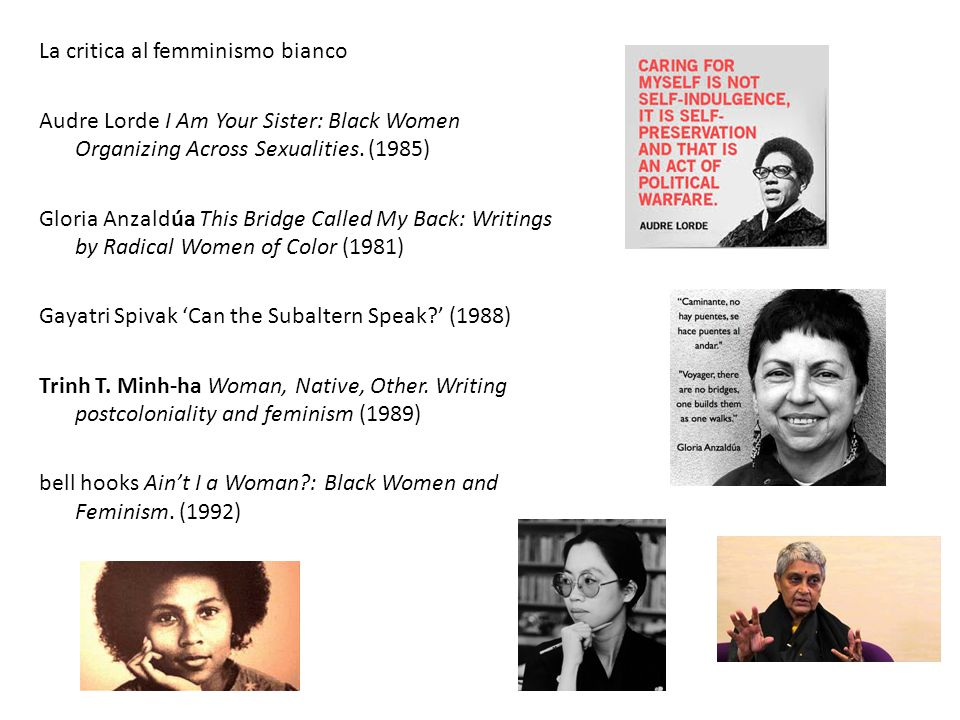 La critica al femminismo bianco Audre Lorde I Am Your Sister: Black Women Organizing Across Sexualities. (1985) Gloria Anzaldúa This Bridge Called My