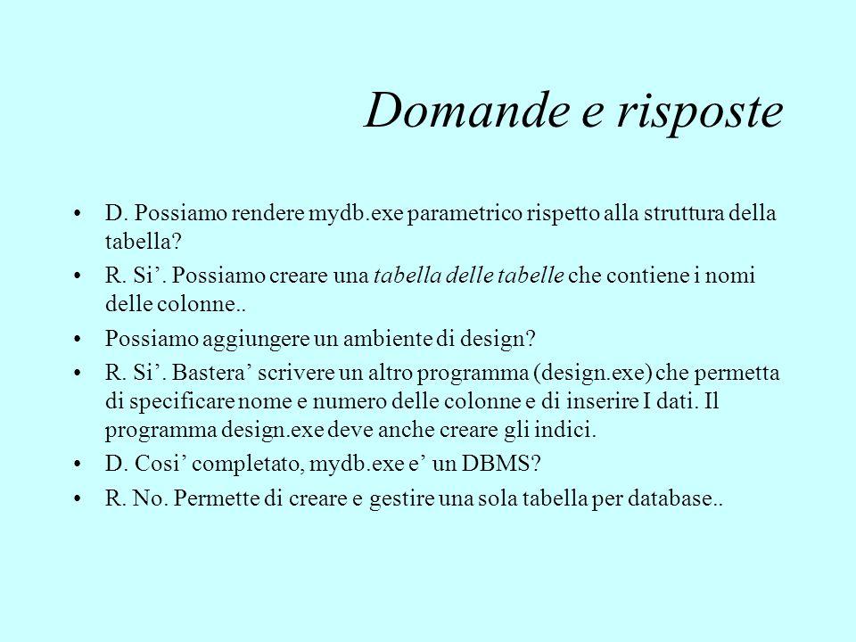 Domande e risposte D. Possiamo rendere mydb.exe parametrico rispetto alla struttura della tabella? R. Si'. Possiamo creare una tabella delle tabelle c
