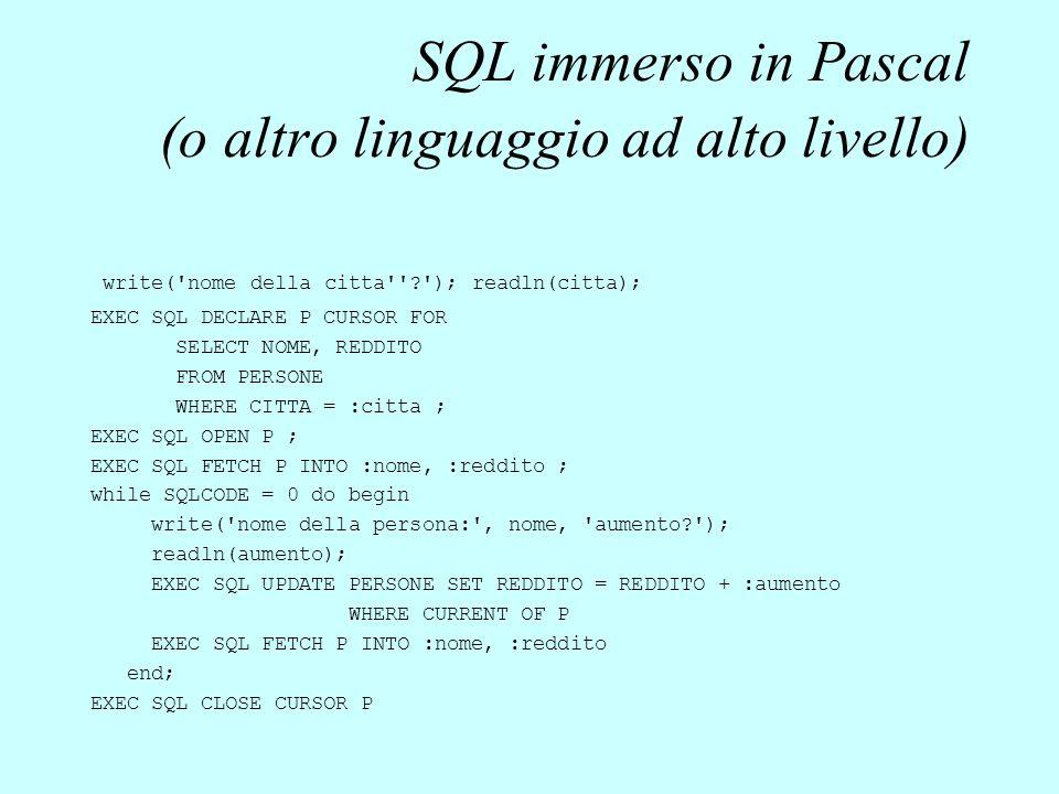 SQL immerso in Pascal (o altro linguaggio ad alto livello) write('nome della citta''?'); readln(citta); EXEC SQL DECLARE P CURSOR FOR SELECT NOME, RED