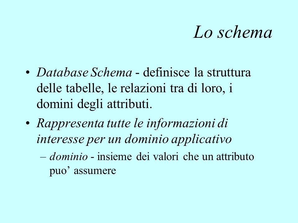 Lo schema Database Schema - definisce la struttura delle tabelle, le relazioni tra di loro, i domini degli attributi. Rappresenta tutte le informazion