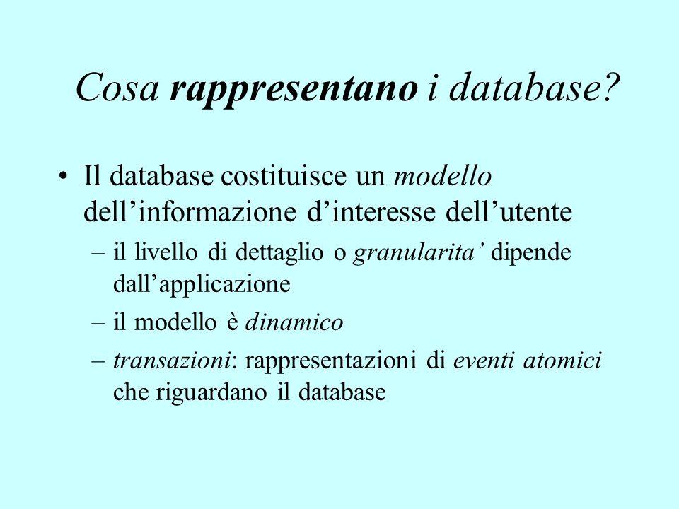 Cosa rappresentano i database? Il database costituisce un modello dell'informazione d'interesse dell'utente –il livello di dettaglio o granularita' di