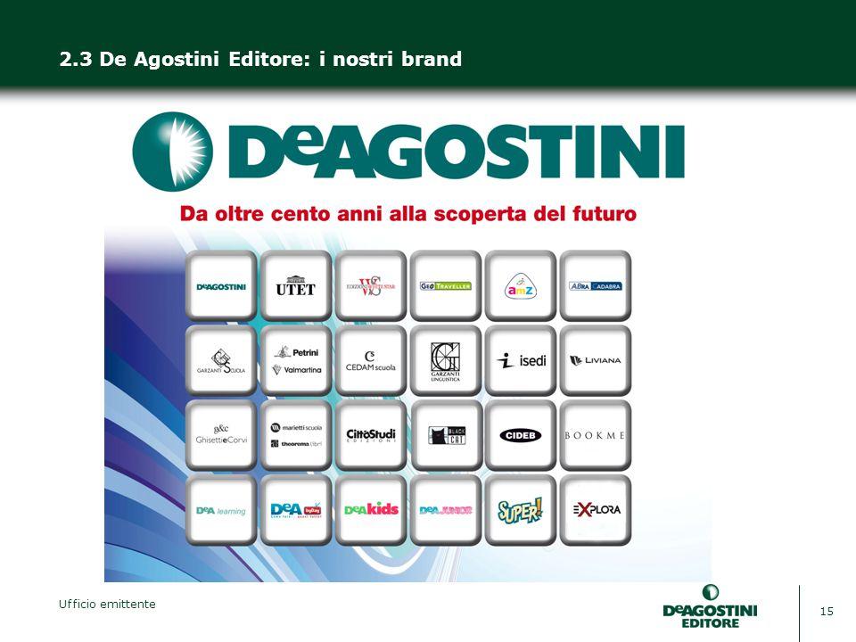 Ufficio emittente 15 2.3 De Agostini Editore: i nostri brand