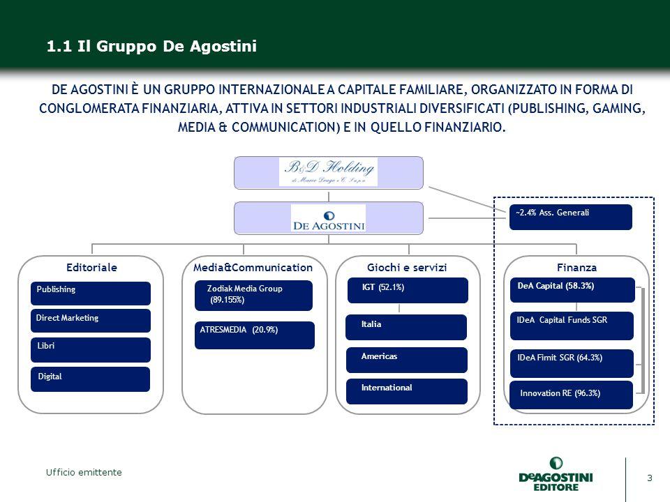3 1.1 Il Gruppo De Agostini DE AGOSTINI È UN GRUPPO INTERNAZIONALE A CAPITALE FAMILIARE, ORGANIZZATO IN FORMA DI CONGLOMERATA FINANZIARIA, ATTIVA IN SETTORI INDUSTRIALI DIVERSIFICATI (PUBLISHING, GAMING, MEDIA & COMMUNICATION) E IN QUELLO FINANZIARIO.