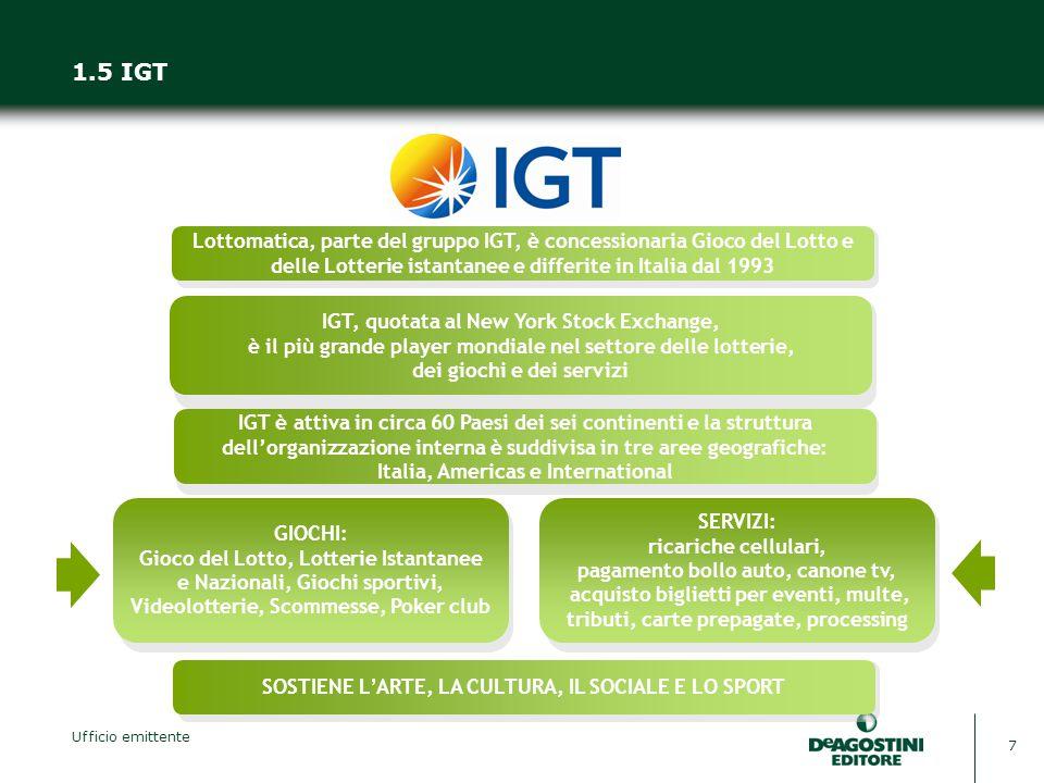 Ufficio emittente 7 1.5 IGT Lottomatica, parte del gruppo IGT, è concessionaria Gioco del Lotto e delle Lotterie istantanee e differite in Italia dal 1993 IGT è attiva in circa 60 Paesi dei sei continenti e la struttura dell'organizzazione interna è suddivisa in tre aree geografiche: Italia, Americas e International IGT, quotata al New York Stock Exchange, è il più grande player mondiale nel settore delle lotterie, dei giochi e dei servizi SOSTIENE L'ARTE, LA CULTURA, IL SOCIALE E LO SPORT GIOCHI: Gioco del Lotto, Lotterie Istantanee e Nazionali, Giochi sportivi, Videolotterie, Scommesse, Poker club SERVIZI: ricariche cellulari, pagamento bollo auto, canone tv, acquisto biglietti per eventi, multe, tributi, carte prepagate, processing