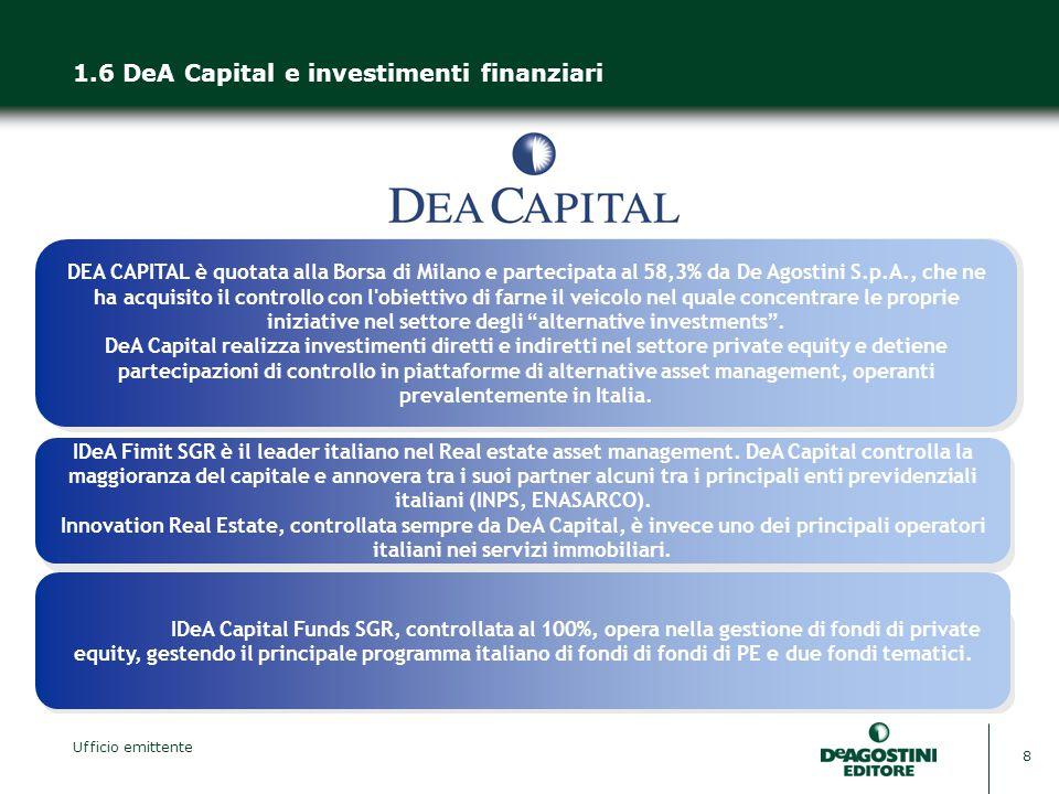 Ufficio emittente 8 1.6 DeA Capital e investimenti finanziari DEA CAPITAL è quotata alla Borsa di Milano e partecipata al 58,3% da De Agostini S.p.A., che ne ha acquisito il controllo con l obiettivo di farne il veicolo nel quale concentrare le proprie iniziative nel settore degli alternative investments .