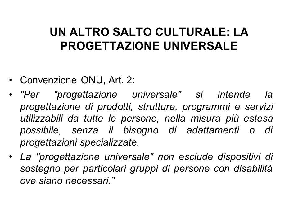 UN ALTRO SALTO CULTURALE: LA PROGETTAZIONE UNIVERSALE Convenzione ONU, Art. 2: