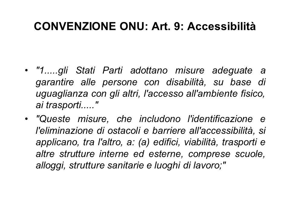 CONVENZIONE ONU: Art. 9: Accessibilità