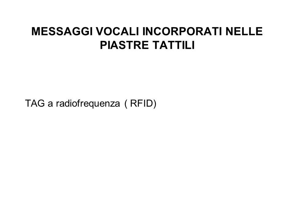 MESSAGGI VOCALI INCORPORATI NELLE PIASTRE TATTILI TAG a radiofrequenza ( RFID)