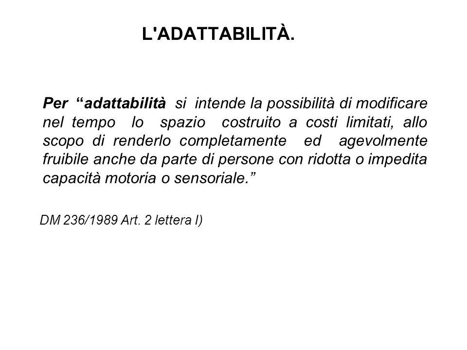 """L'ADATTABILITÀ. Per """"adattabilità si intende la possibilità di modificare nel tempo lo spazio costruito a costi limitati, allo scopo di renderlo compl"""