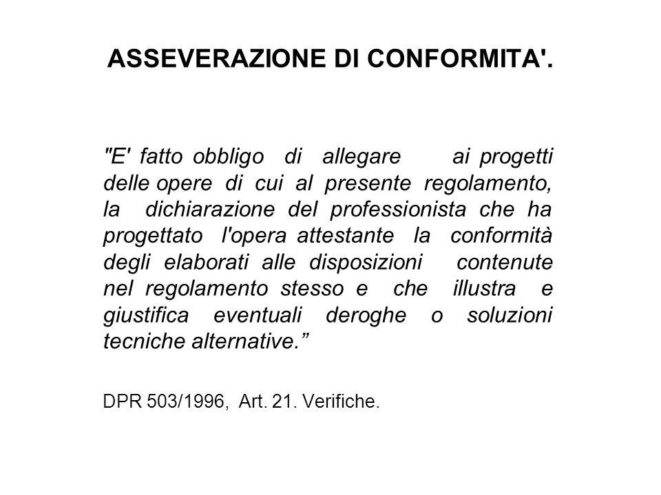 ASSEVERAZIONE DI CONFORMITA .