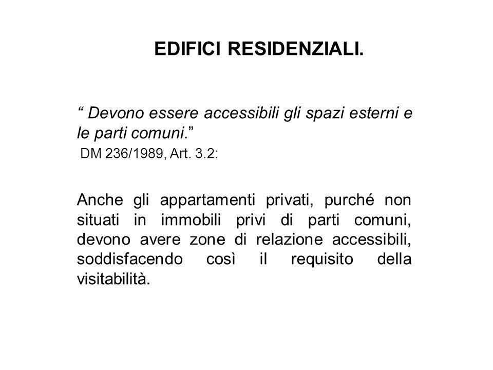 """EDIFICI RESIDENZIALI. """" Devono essere accessibili gli spazi esterni e le parti comuni."""" DM 236/1989, Art. 3.2: Anche gli appartamenti privati, purché"""