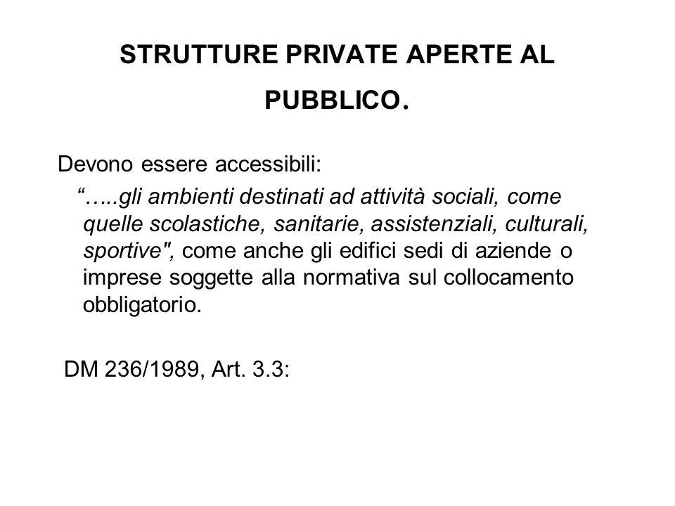 """STRUTTURE PRIVATE APERTE AL PUBBLICO. Devono essere accessibili: """"…..gli ambienti destinati ad attività sociali, come quelle scolastiche, sanitarie, a"""
