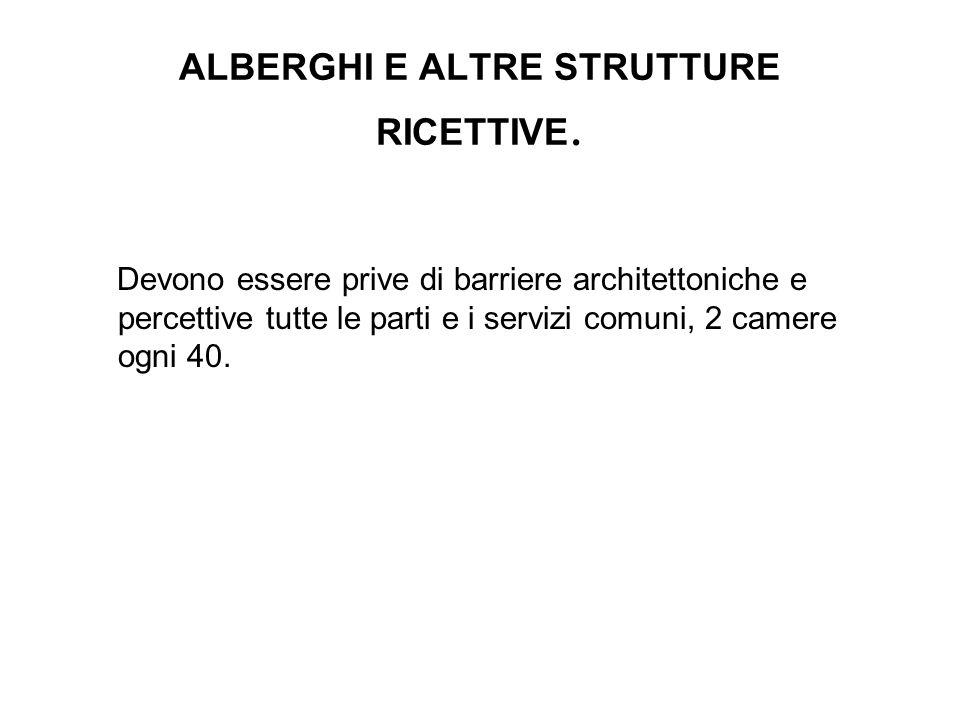 ALBERGHI E ALTRE STRUTTURE RICETTIVE. Devono essere prive di barriere architettoniche e percettive tutte le parti e i servizi comuni, 2 camere ogni 40