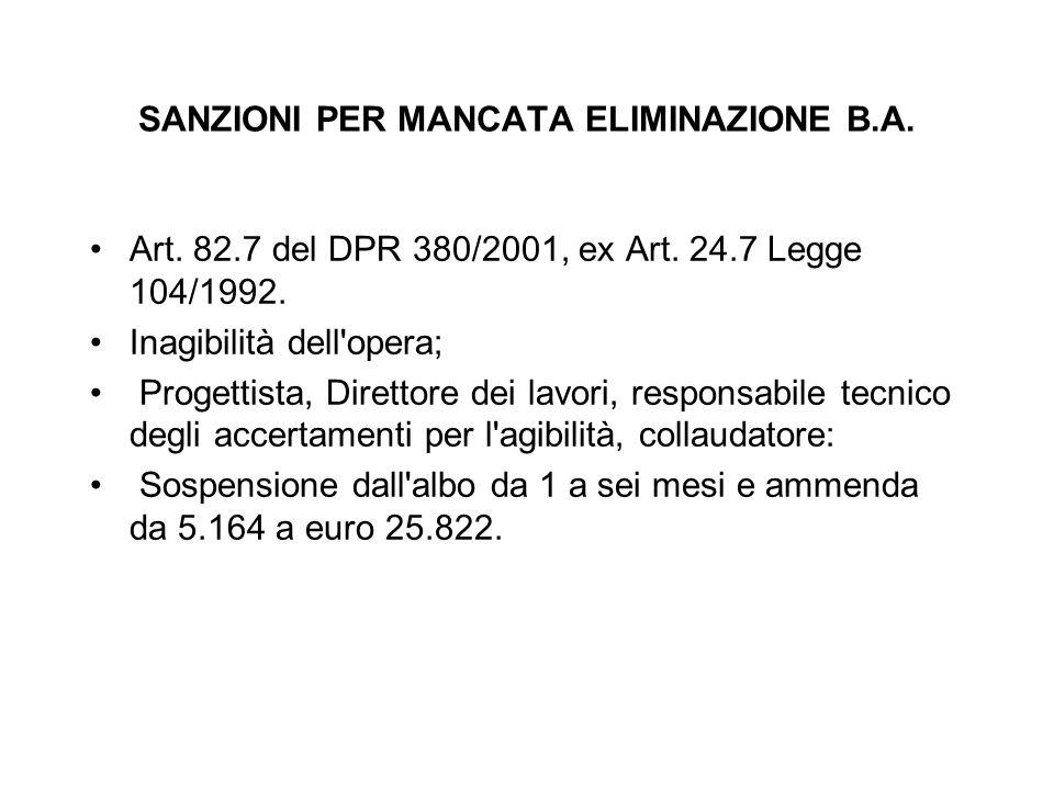 SANZIONI PER MANCATA ELIMINAZIONE B.A. Art. 82.7 del DPR 380/2001, ex Art. 24.7 Legge 104/1992. Inagibilità dell'opera; Progettista, Direttore dei lav