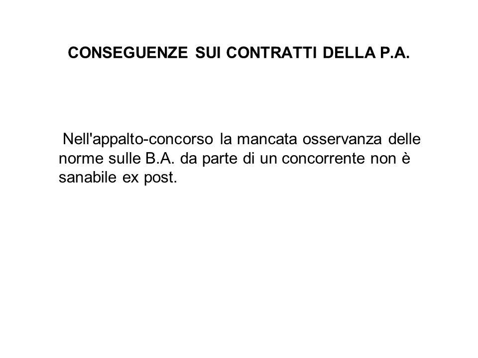 CONSEGUENZE SUI CONTRATTI DELLA P.A.